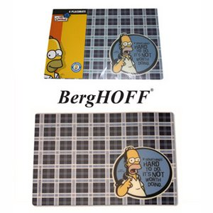 "Placemat set 4pcs ""The Simpsons"" 44x30cm  Blauw geruit"