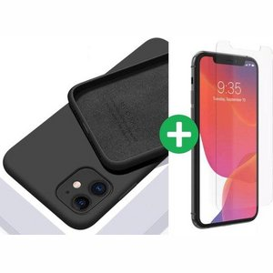 iPhone case/hoesje silicone  + 1x screenprotector glas Zwart iPhone XR