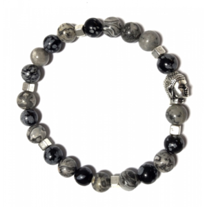 Grey dalmation with silver cubes & buddha beads armband