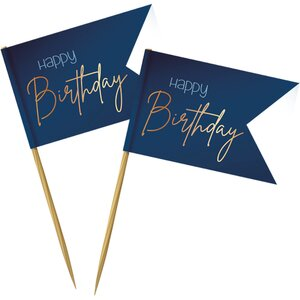 Prikkertjes Happy Birthday | Goud/Blauw Elegant