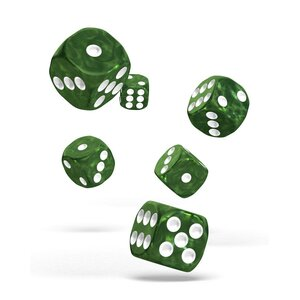 Dice D6 Dice 16 mm Marble - Green (12)