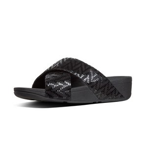 FitFlop Slippers T96 Lulu Chevron Cross Slide zwart