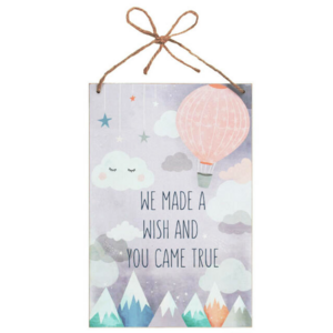 Decoratiebord - We made a wish and you came true - Baby - Hout - 20x30cm
