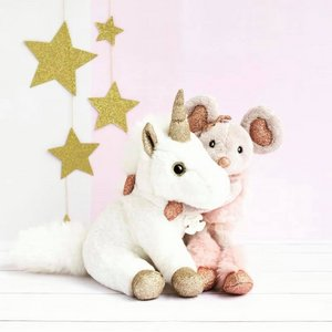 Witte unicorn met goude afwerking 23cm Histoures D'Ours