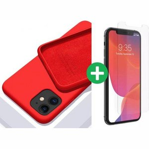 iPhone case/hoesje silicone  + 1x screenprotector glas Rood iPhone XR