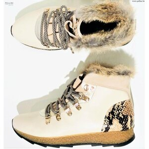 Softwaves Women Boots 7.76.05 Suede Leather Croco Off White Platino