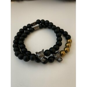 Wolf Bracelet Set (Black & Gold)