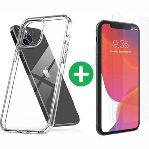 iPhone 12 (pro) hoesje transparant - Clear case + 1x Screenprotector Tempered Glass