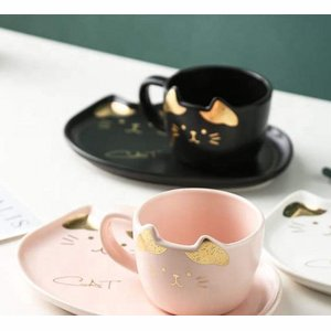 Creative cat ceramic coffee/thee mug and plate - roze