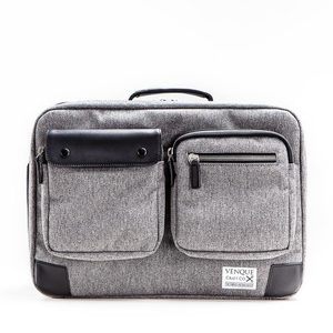 Venque Briefpack Utility XL grey (Black Leather Edition)