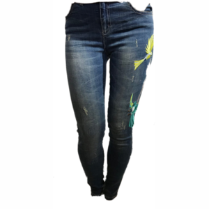 H20 Italia Jeans broek  Joelle 003  high , slim fit met borduursel