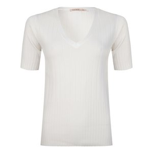 Esqualo Licht gebreid t-shirt: Off White ( ESQ.183 )