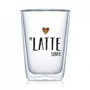 Dubbelwandig glas Latte lover 400ml
