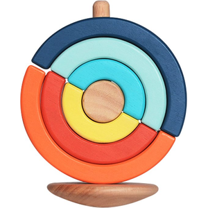 Circular Culbuto - Stack & Build - Montessori Educational Tool - 18M+ Wooden Toy