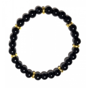 Black with gold rings beads armband