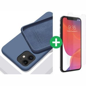 iPhone case/hoesje silicone  + 1x screenprotector glas Blauw iPhone 12 Pro