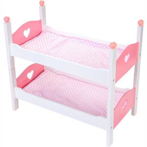 Angel Toys WOODEN DOLLS BUNK BED WHITE/PINK