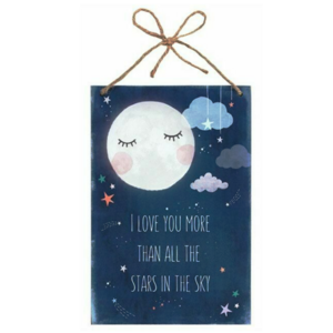 Decoratiebord - I love you more than all the stars in the sky - Hout - 20x30cm