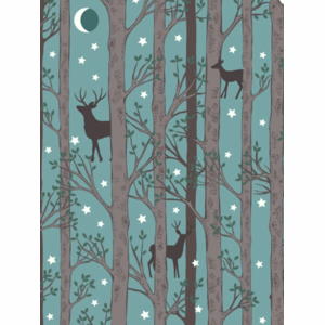 Lewis & Irene - Nighttime in Bluebell Wood - Forest Deer Blue - Glow in the Dark