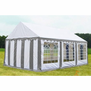 Partytent 4x6 Classic PVC Brandvertragend Grijs/wit