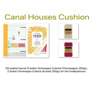 Haakpakket Canal Houses Cushion NL (Yarn The After Party) Champagne - Scarlet