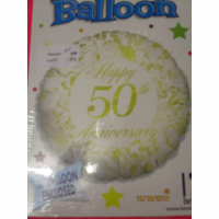 Folieballon happy 50th anniversary met helium