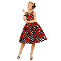 Dolly and Dotty – Elizabeth Vintage Evening Dress in Black Rose Polka Print - Kleedje polkadots 40